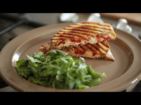 Turkey Panini w/ Red Roasted Pepper, Pesto Recipe: How to Make This Sandwich || KIN EATS
