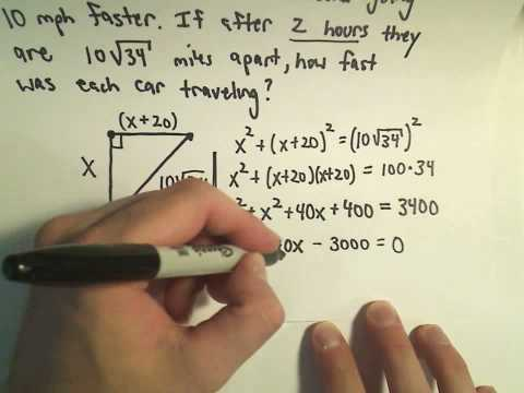 Word Problems Using the Pythagorean Theorem - Example 3