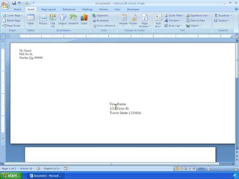 Word 2007 Tutorial 22 - Making An Envelope