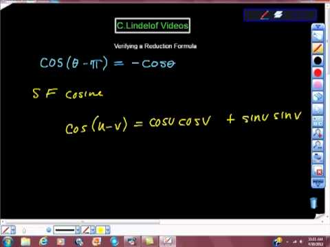 Verifying a Reduction Formula Cos(u-v) College Trigonometry