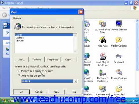 Outlook 2003 Tutorial Adding Additional Profiles XP & 2000 Microsoft Training Lesson 14.5