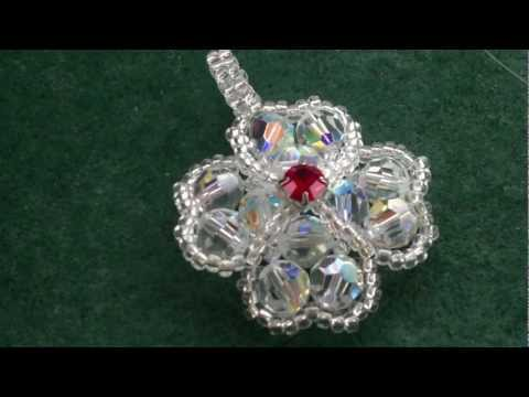 Beading4perfectionists : Four leaf clover pendant made out of Swarovski and miyuki beading tutorial