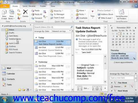 Outlook 2010 Tutorial The Deleted Items Folder Microsoft Training Lesson 8.1