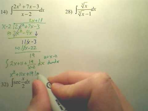 5.2 Natural Logarithmic Integration Practice A1 - Calculus