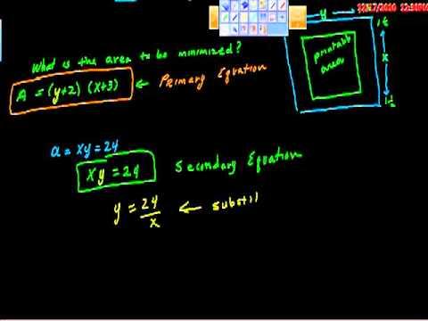 Calculus Optimization Minimum Area Problem