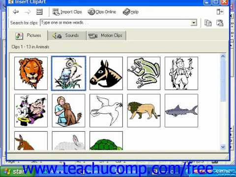 Word 2003 Tutorial Inserting Clip Art 2000 & 97 Microsoft Office Training Lesson 13.3