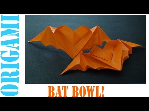 Origami Daily - 418: Halloween Bat Bowl (Heart Shaped) - TCGames [HD]