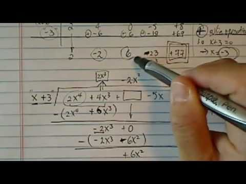Polynomial Long Division & Synthetic Division:  2x^4 + 4x^3 - 5x + 8 is divided by x + 3?