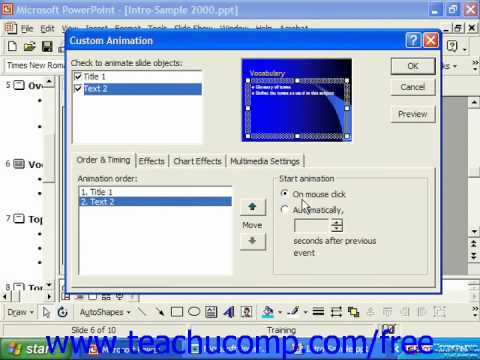 PowerPoint 2003 Tutorial Adding Custom Animation 2000 & 97 Microsoft Training Lesson 18.2