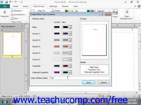 Publisher 2010 Tutorial Creating a Custom Color Scheme Microsoft Training Lesson 7.1