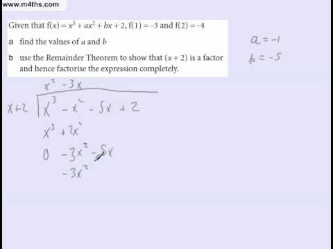 Using both long division and equating to solve a factor theorem problem