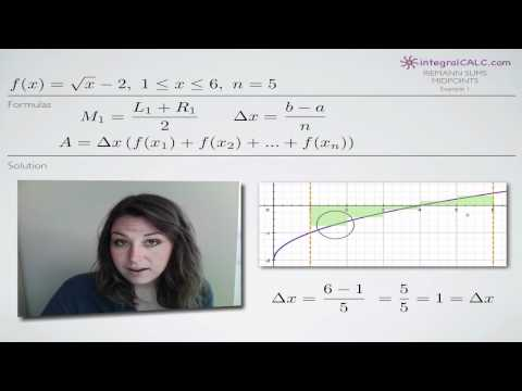 Riemann Sums Midpoints Example 1