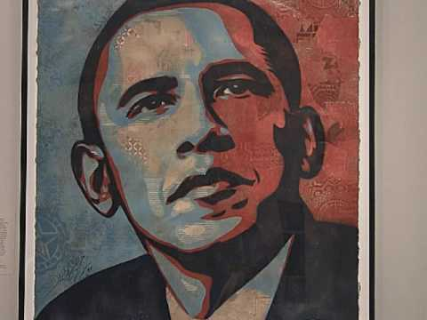 Portrait of Barack Obama by Shepard Fairey, at National Portrait Gallery