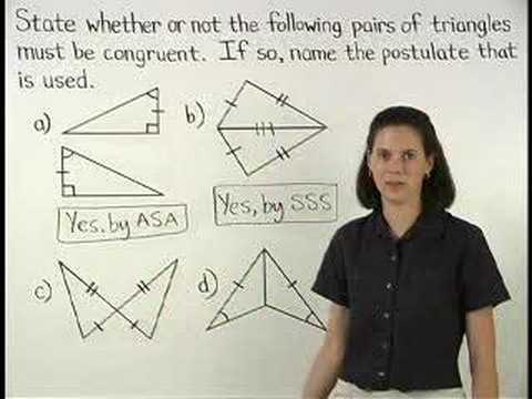 Proving Triangles are Congruent - YourTeacher.com - Math Help