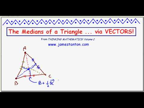 The Medians of a Triangle are Concurrent: Use Vectors! (TANTON Mathematics)