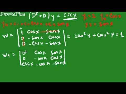 variación de parámetros para cosecante de x