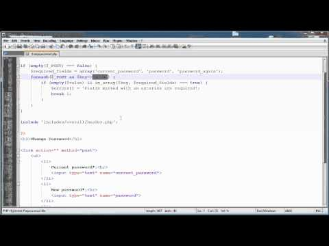 PHP Tutorials: Register & Login (Part 13): Changing Password (Part 1)