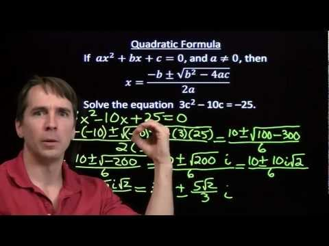 Using the Quadratic Formula Part 3