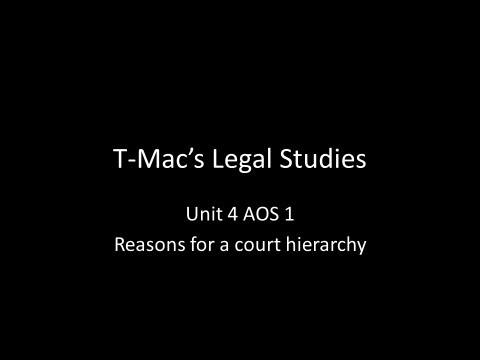 VCE Legal Studies - Unit 4 AOS1 - Reasons for a court hierarchy