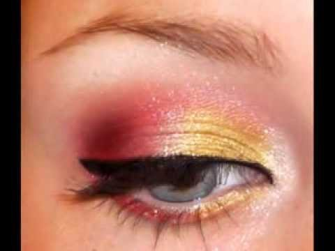 red and gold holiday eyeshadow