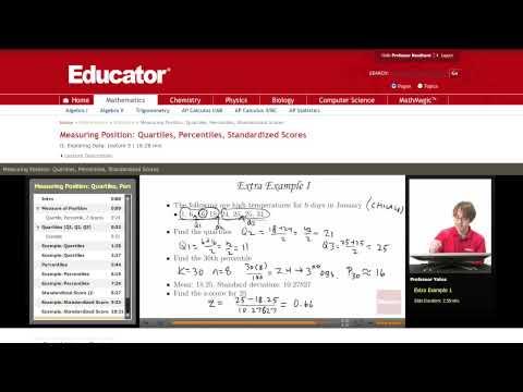 Statistics: Measuring Position (Quartile, Percentiles, Standardized Scores)