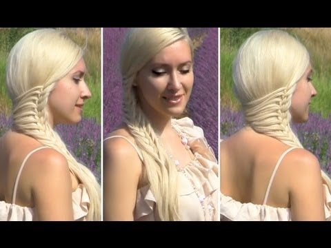 Romantic hairstyle for long hair with a side swept braid (french mermaid cage braid)