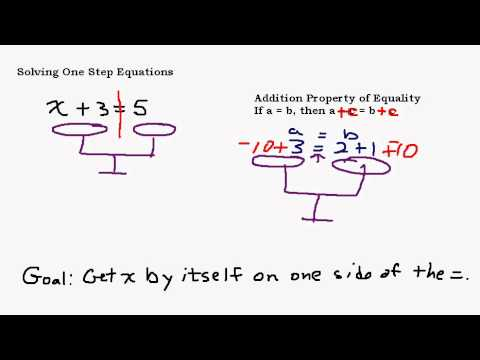 Solving One Step Equations Part 1 - Addition Property of Equality