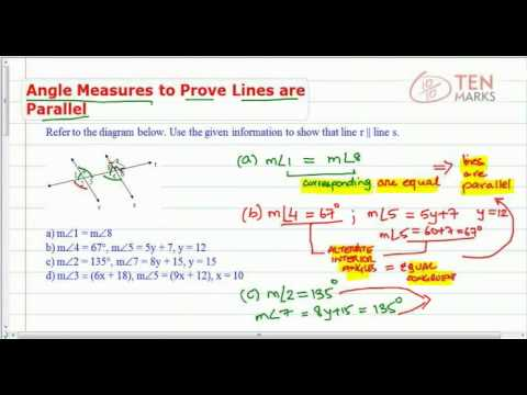 Use Angle Measures to Prove Lines Parallel