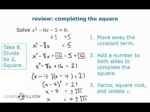 Solve equations by completing the square - N-CN.7