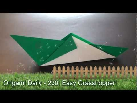 Origami Daily - 230: Easy Grasshopper (Kids Origami) - TCGames [HD]