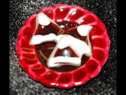 Santa Hat Cookies.  How to make Christmas cookies for miniature dollhouse