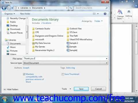 Word 2010 Tutorial Saving Documents -2010 Microsoft Training Lesson 2.6