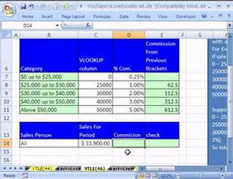 YouTubersLoveExcel#46: VLOOKUP & Previous Bracket Trick