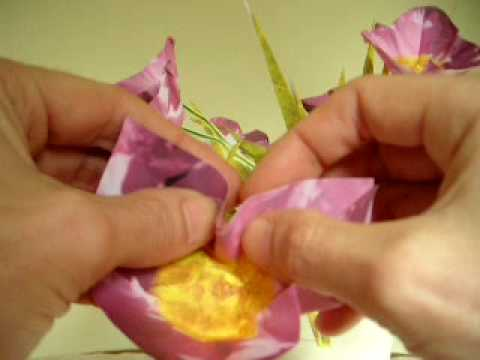 Pink flower folding