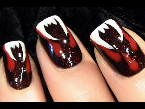 Vampire Nails Fangtorial for Halloween