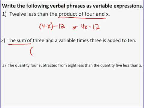 Verbal Expressions to Algebraic Expressions