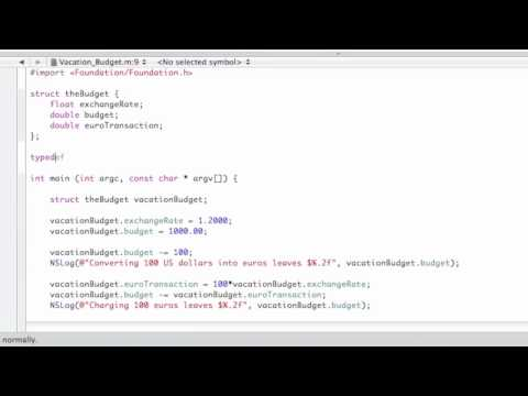 Objective-C Tutorial - Lesson 9: Part 2: Structures with Defined Data Types