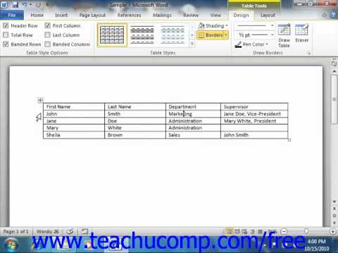 Word 2010 Tutorial Using Tables Microsoft Training Lesson 16.1