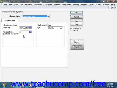 QuickBooks 2011-2006 Tutorial The Employees Tab Intuit Training Lesson 3.6