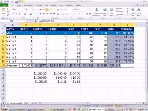 Office 2010 Class #18: Excel Intro Project 01: Data, Formatting, Formulas, Page Setup