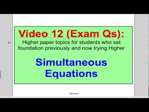 Simultaneous Equations 2 (GCSE Higher Maths): Exam Qs 12