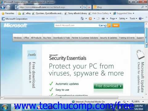 Windows 7 Tutorial Using Internet Explorer Microsoft Training Lesson 7.2