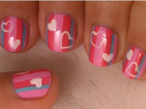 Valentines Nail Art - Stripes and Hearts