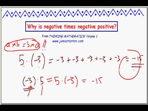 Why is negative times negative positive? PART I (James Tanton)