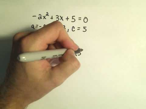 Using the Discriminant to Predict the Types of Solutions to a Quadratic Equation - Example 3