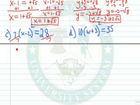 Solve Equations of the Form (x-h)^2=k