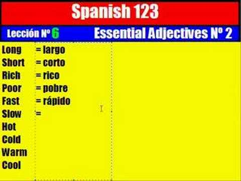 Spanish Lesson. 6. Essential Adjectives Nº 2