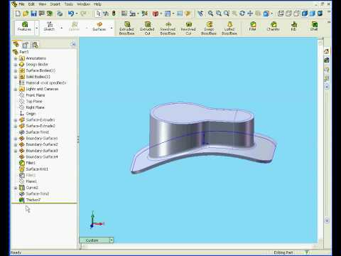 solidworks tutorial surface design Thicken