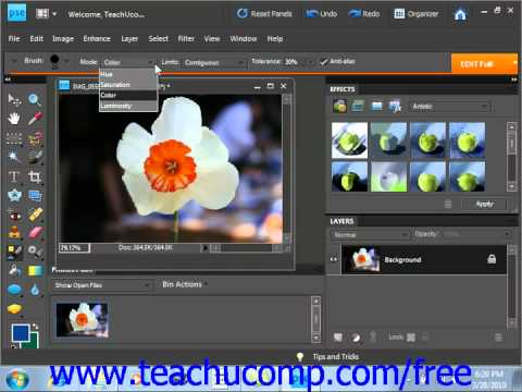 Photoshop Elements 9.0 Tutorial The Color Replacement Tool Adobe Training Lesson 6.6