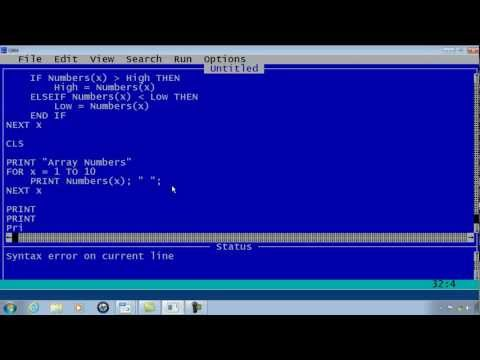 QBasic Tutorial 19 - Highest And Lowest Array Element- QB64